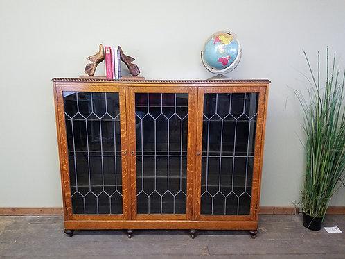 Three Door Antique American Oak Library Book Case with Lead Glas