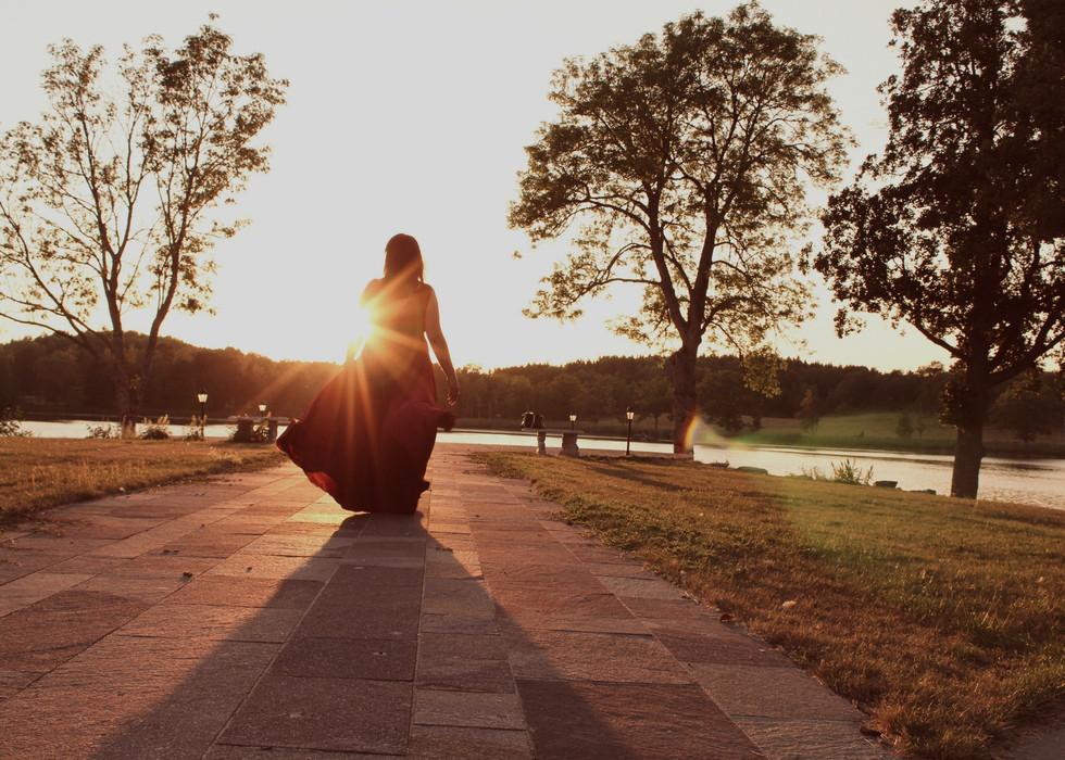 Fotosession i solnedgången