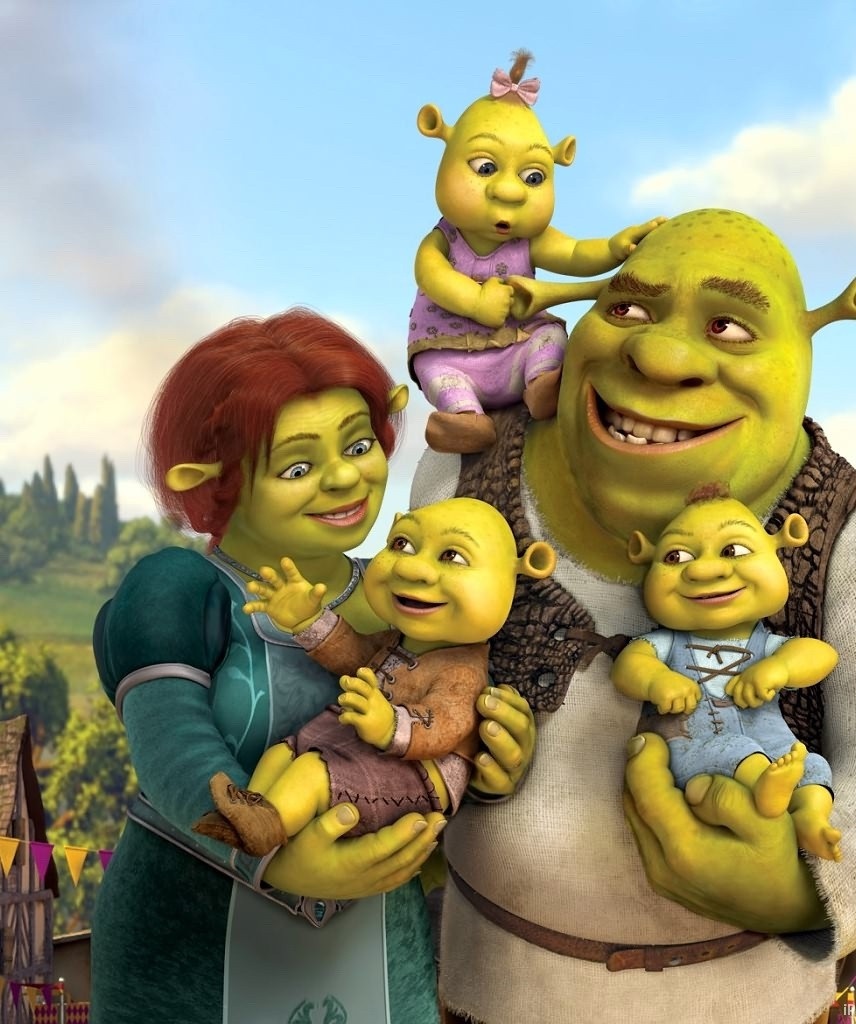 Shrek and Fiona with kids