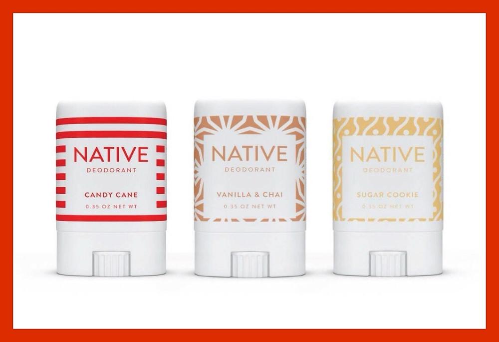 Native deodorant - candy cane, vanilla and chai, sugar cookie