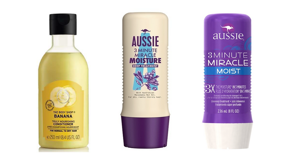 The Body Shop Banana Truly Nourishing Conditioner and Aussie Moist 3 Minute Miracle