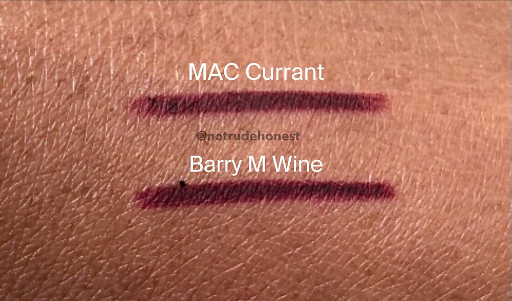 MAC Currant Lip Pencil swatch and Barry M Wine Lip Liner swatch on dark skin