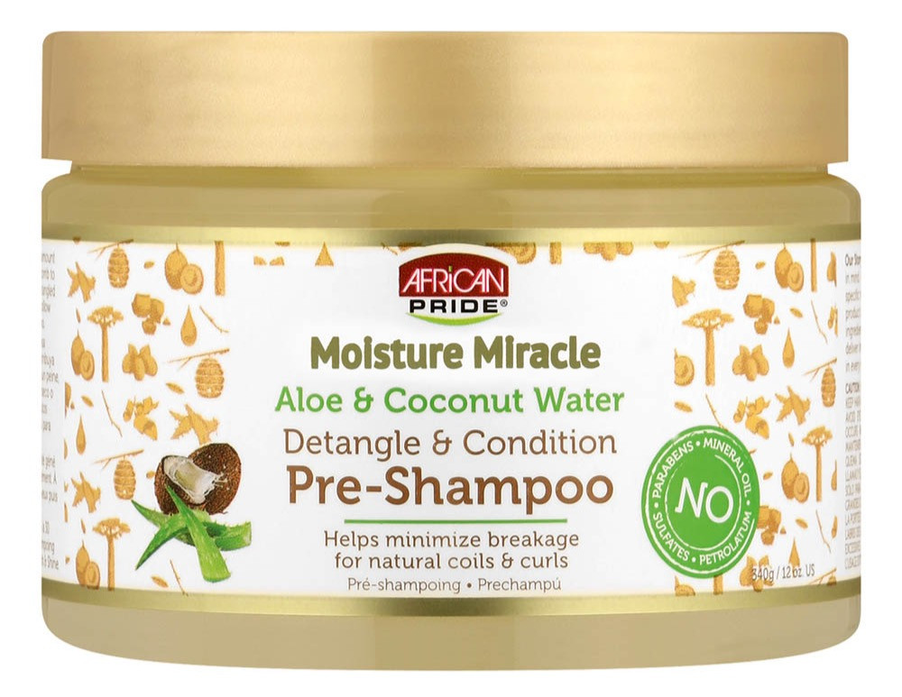 African Pride Moisture Miracle Aloe & Coconut Water Detangle & Conditions Pre-Shampoo