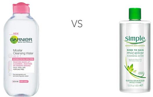 Garnier vs Simple Micellar Cleanising Waters