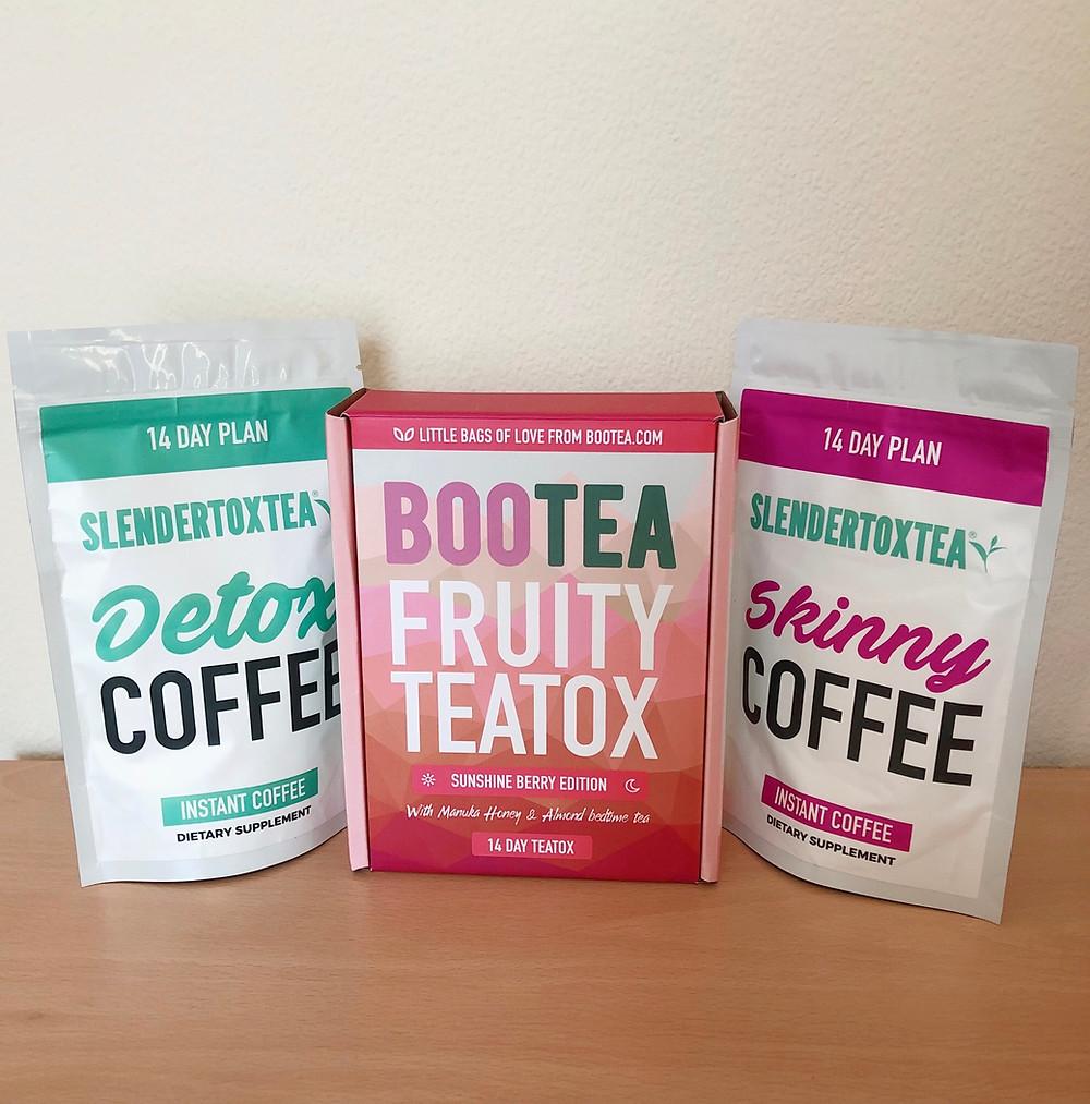 Slendertoxtea Detox Coffee, Bootea  Fruity Teatox and Slendertoxtea Skinny Coffee