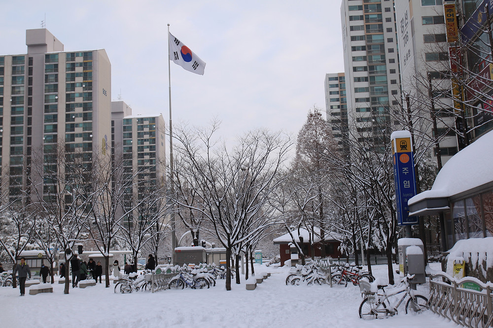 Snow in Seoul, South Korea