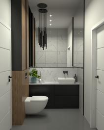 Projekt łazienki z użyciem marmuru oraz lamelek