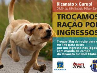 Ricanato troca ração para cães e gatos por ingressos de jogos do Campeonato Tocantinense 2016