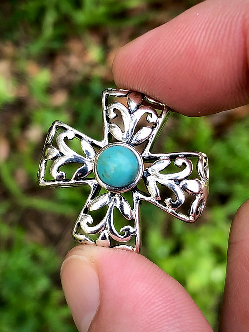 Sterling silver cruciform cross pendant turquoise