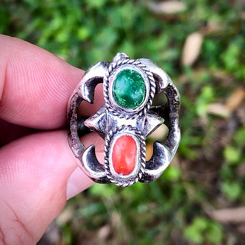Antique sterling silver jasper ring from Mexico size 7 1/2