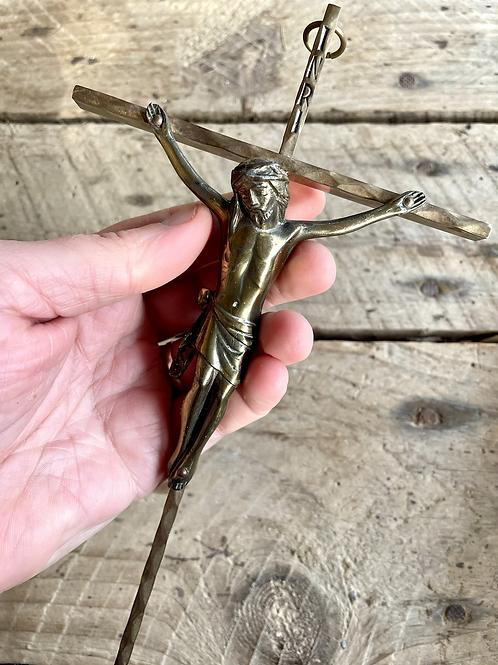 Vintage German brass chapel cross