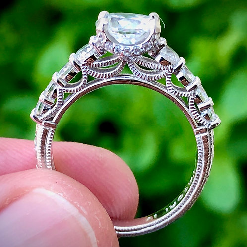 Sterling silver qz diamond engagement ring size 8