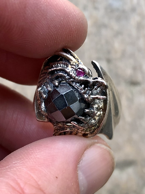 Large sterling silver and gemstone dragon ring size 10 1/2