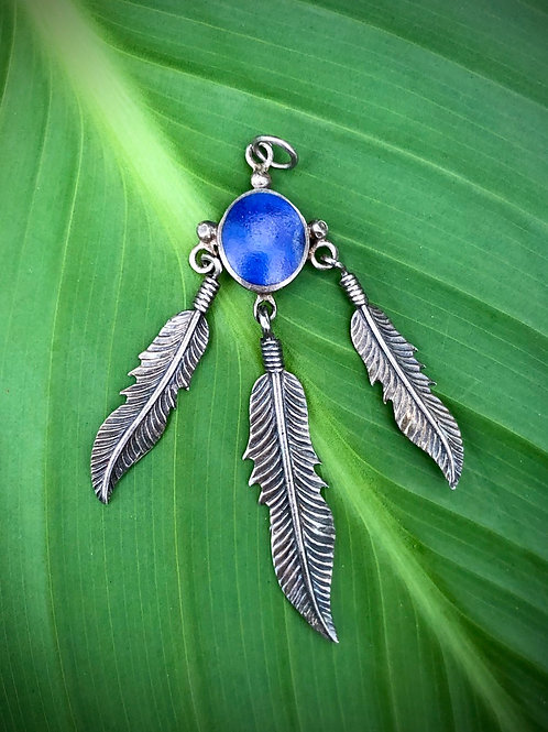Sterling silver enamel Aztec feather pendant