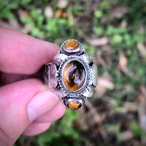 Antique sterling tigers eye poison ring from Mexico adjustable ring