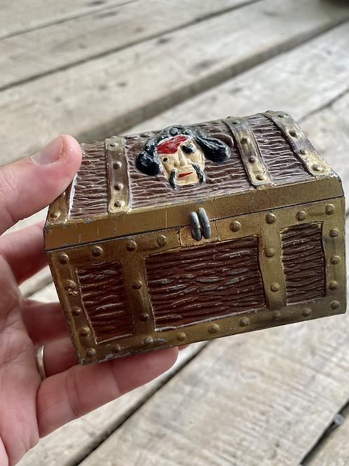 Antique metal pirate chest treasure box