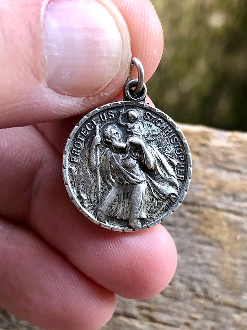 Antique sterling silver Saint Christopher medal