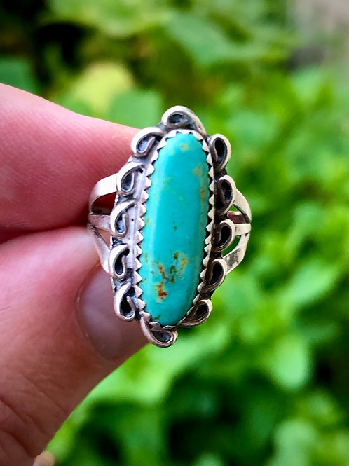 Sterling silver turquoise oblong antique ring size 5