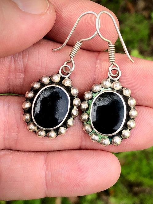 Sterling silver and onyx earrings from Mexico