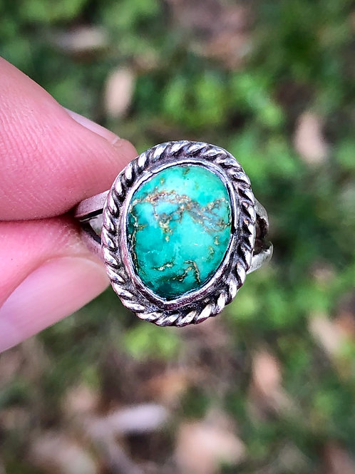 Antique sterling silver turquoise ring size 5