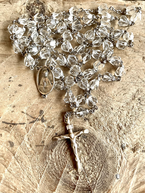 Antique sterling silver and crystal rosary