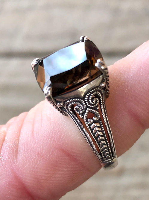 Antique sterling silver smokey quartz filigree ring size 7