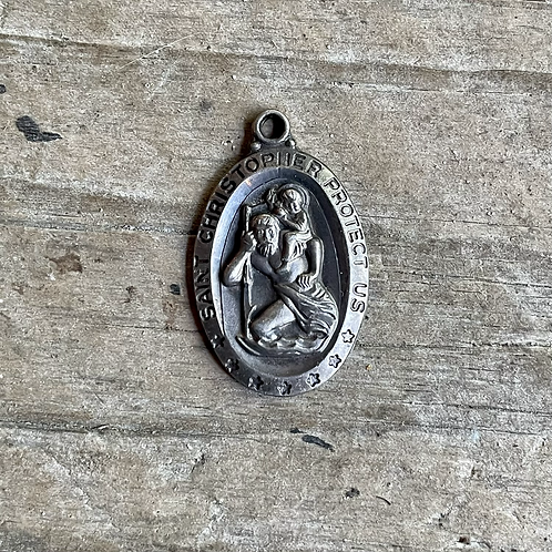 Antique sterling silver Saint Christopher holy medal