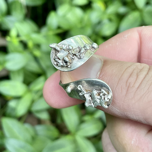 Retro raw silver spoon ring sizable