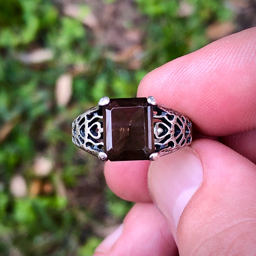 Antique sterling silver smoky quartz filigree ring size 7