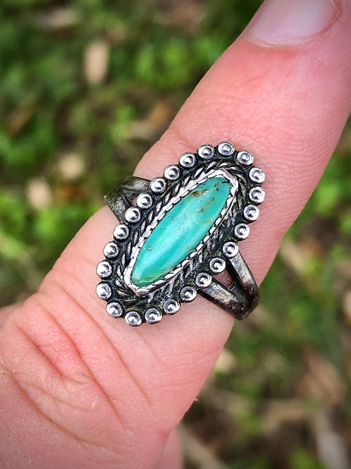 Antique sterling silver turquoise ring size 7 1/2