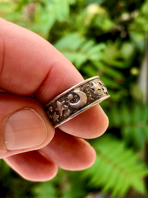 Sterling silver celestial moon and star ring size 7