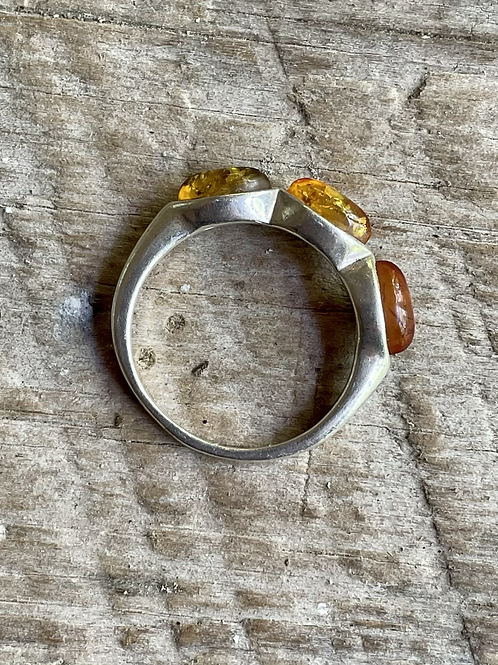 Antique sterling silver amber ring size 8 1/2