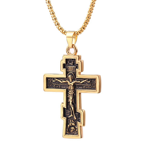 Orthodox cross pendant necklace with chain