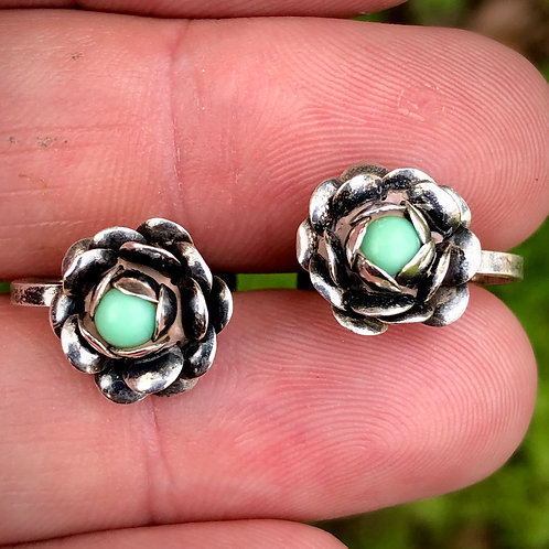 Antique sterling silver rosebud turquoise earrings