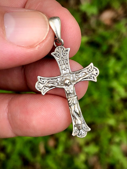 Antique sterling silver rosary crucifix salvaged