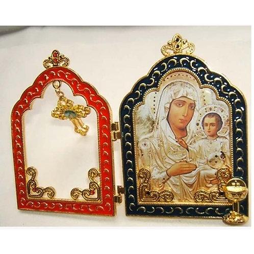 Orthodox Icon 24k Gold-Plated Virgin Mary of Jerusalem