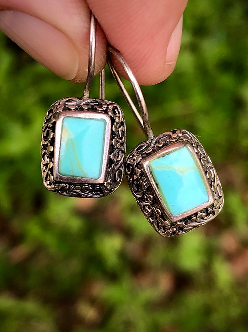 Antique sterling silver and turquoise filigree earrings