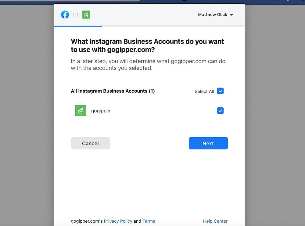 Connect Instagram: Facebook Steps Image