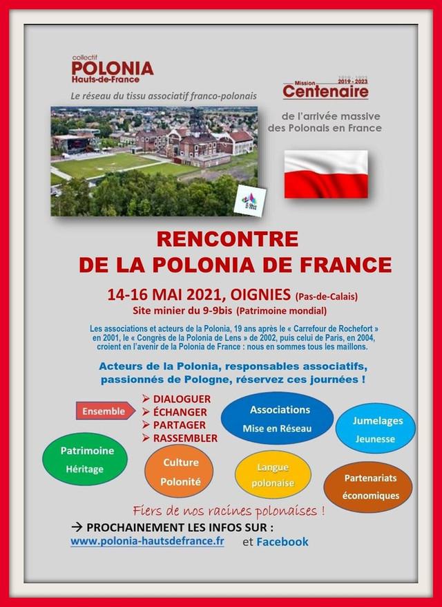 Rencontre de la POLONIA DE FRANCE du 14 au 16 mai 2021 à OIGNIES (Pas-De-Calais)