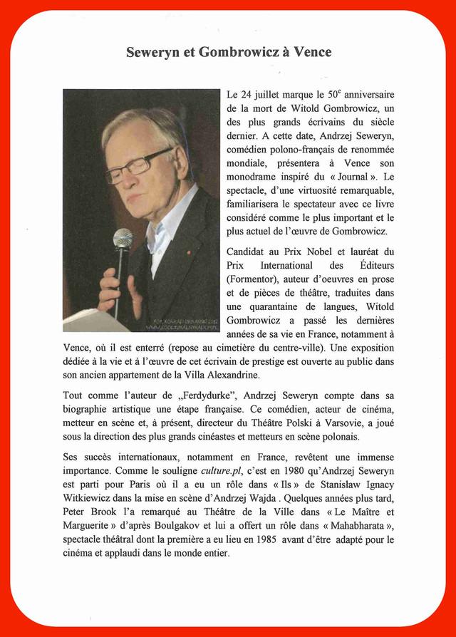 """Le musée Witold GOMBROWICZ à VENCE vous invite au """"monodrame d'Andrzej SEWERYN"""" le 24"""
