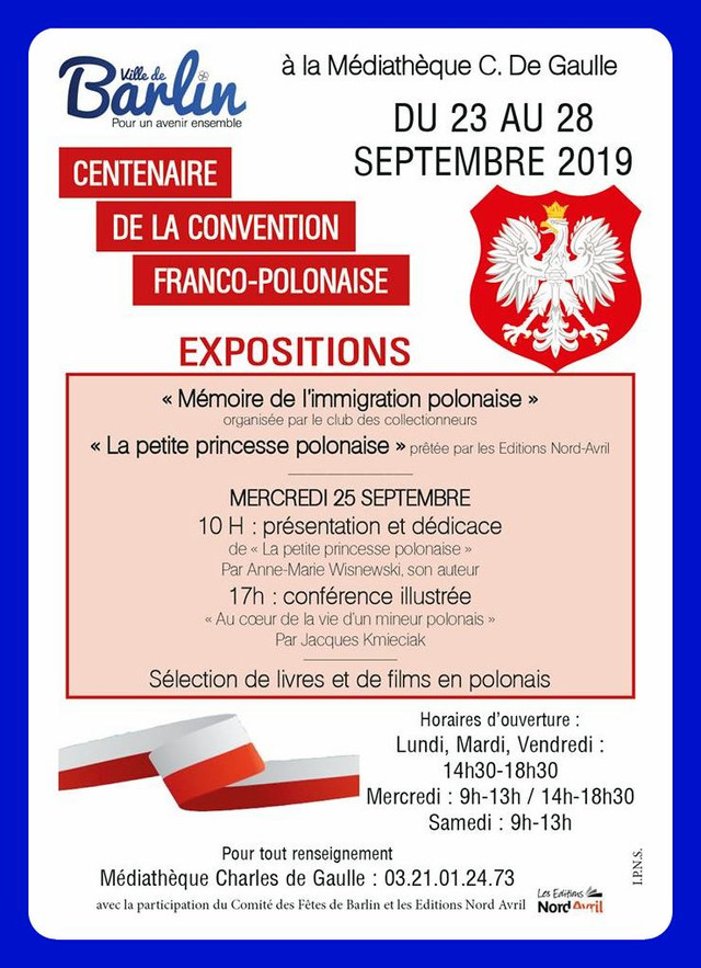 """du 23 au 28 septembre BARLIN célèbre le """"Centenaire de la Convention Franco-Polonaise"""""""