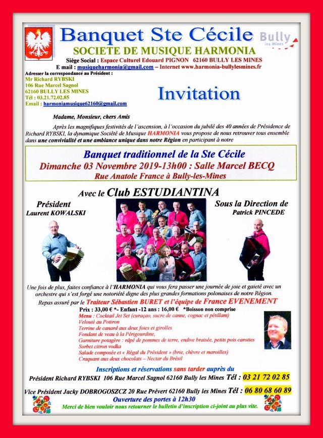 La société de musique HARMONIA de Bully-Les-Mines vous invite au banquet de la Ste Cécile - Dimanche