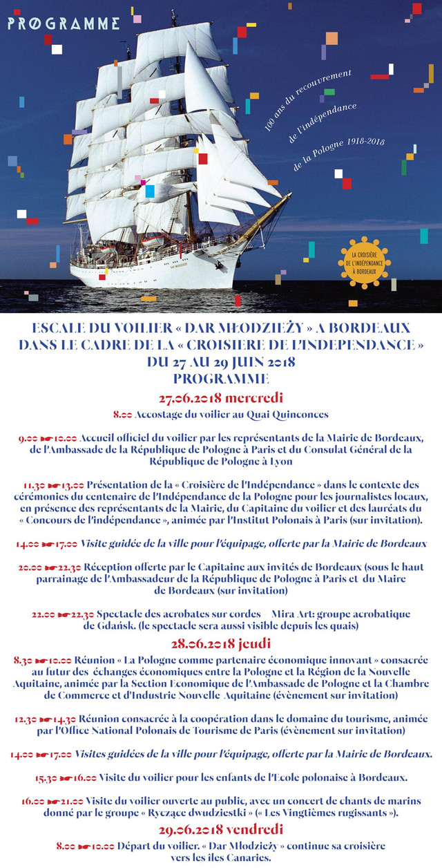 """Le """"Dar Młodzieży"""" en escale à Bordeaux pour la croisière autour du monde du """"centena"""