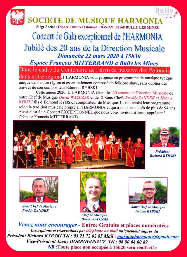 Concert de Gala de l'HARMONIA à Bully les Mines (62) le 22 mars 2020 (cliquez sur l'affiche)