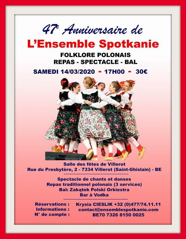 L'Ensemble SPOTKANIE de Villerot (BE) fête son 47ème anniversaire le 14.03.2020