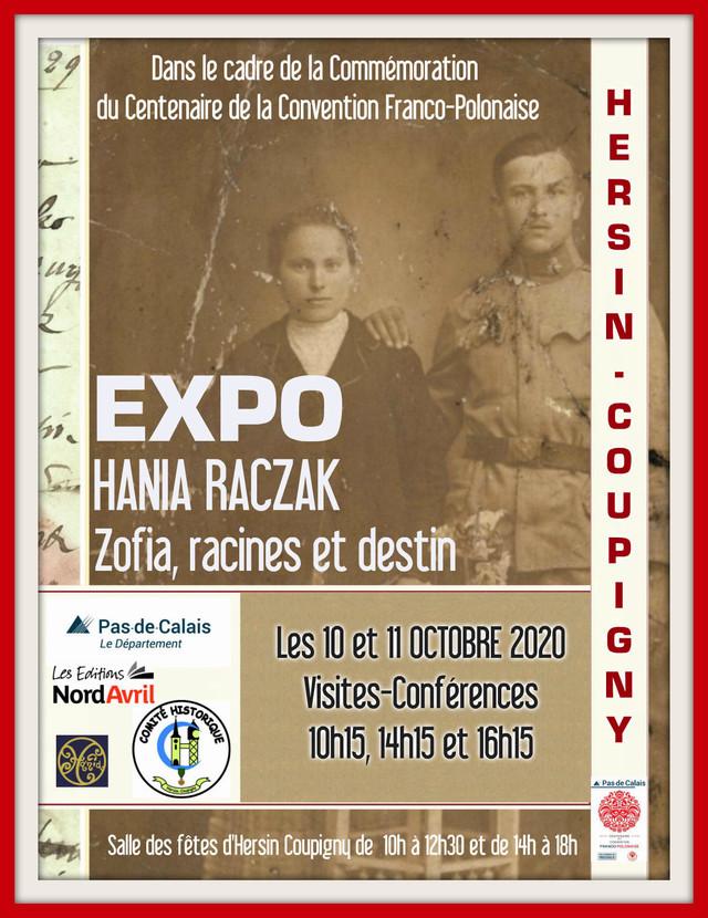 """Expo HANIA RACZAK """"Zofia racines et destin"""" à Hersin-Coupigny (cliquez sur l'affiche)"""
