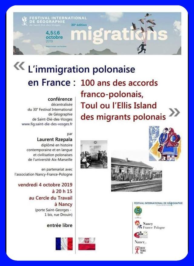 """NANCY """"conférence sur l'immigration polonaise"""" vendredi 04 octobre"""
