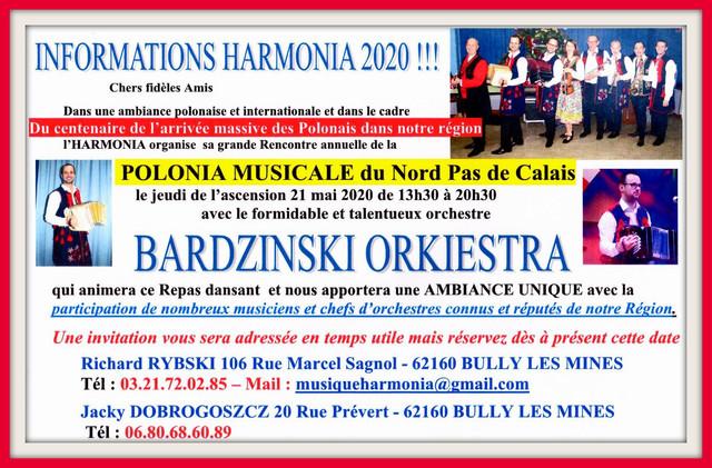 Repas dansant organisé par HARMONIA le 21 mai 2020 (cliquez sur l'affiche)