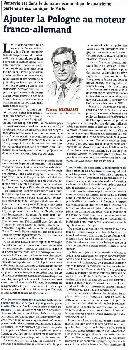 La phrase de Monsieur Tomasz MŁYNARSKI Ambassadeur de Pologne en France : « La Pologne et la France