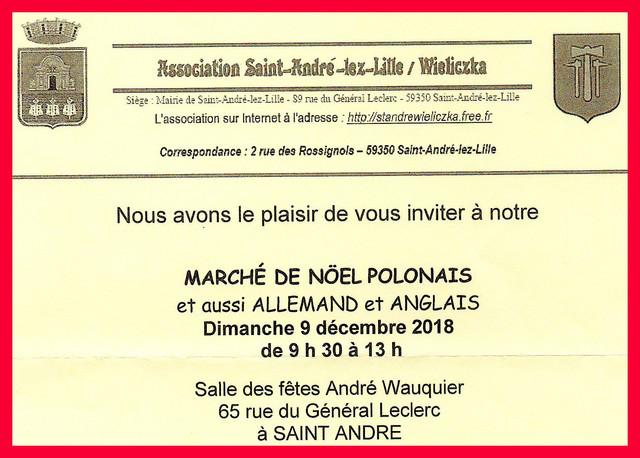 """Association Saint André-Lez-Lille / Wieliczka vous invite """" au Marché de Noël  Polonais et au b"""